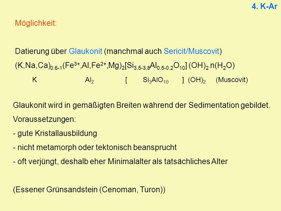4. K-Ar Möglichkeit: Datierung über Glaukonit (manchmal auch Sericit/Muscovit) (K,Na,Ca)0.6-1(Fe3+,Al,Fe2+,Mg)2[Si3,5-3,8Al0.5-0.2O10] (OH)2 n(H2O)